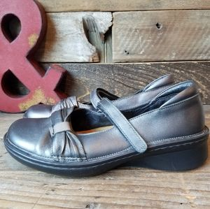 Comfortable NAOT Silver Leather Mary Jane Shoes